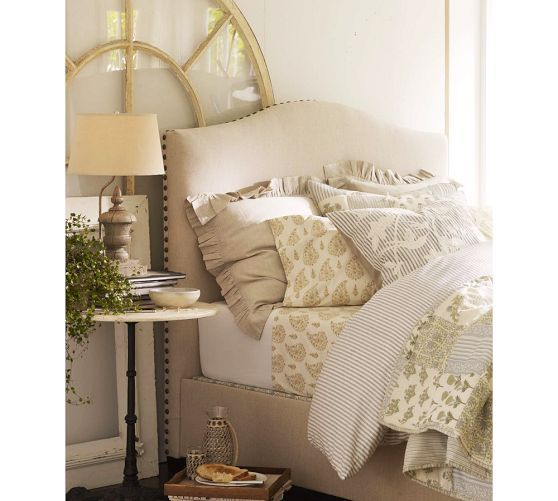 Raleigh Upholstered Camelback Bed & Headboard with Nailhead ...