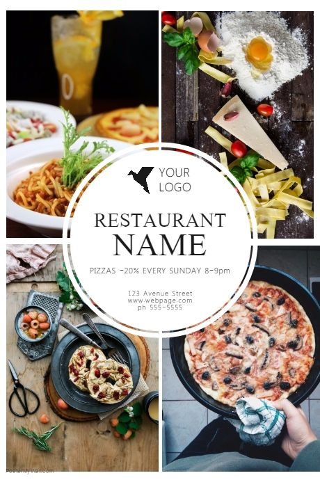 customize this restaurant flyer template with your photos and text