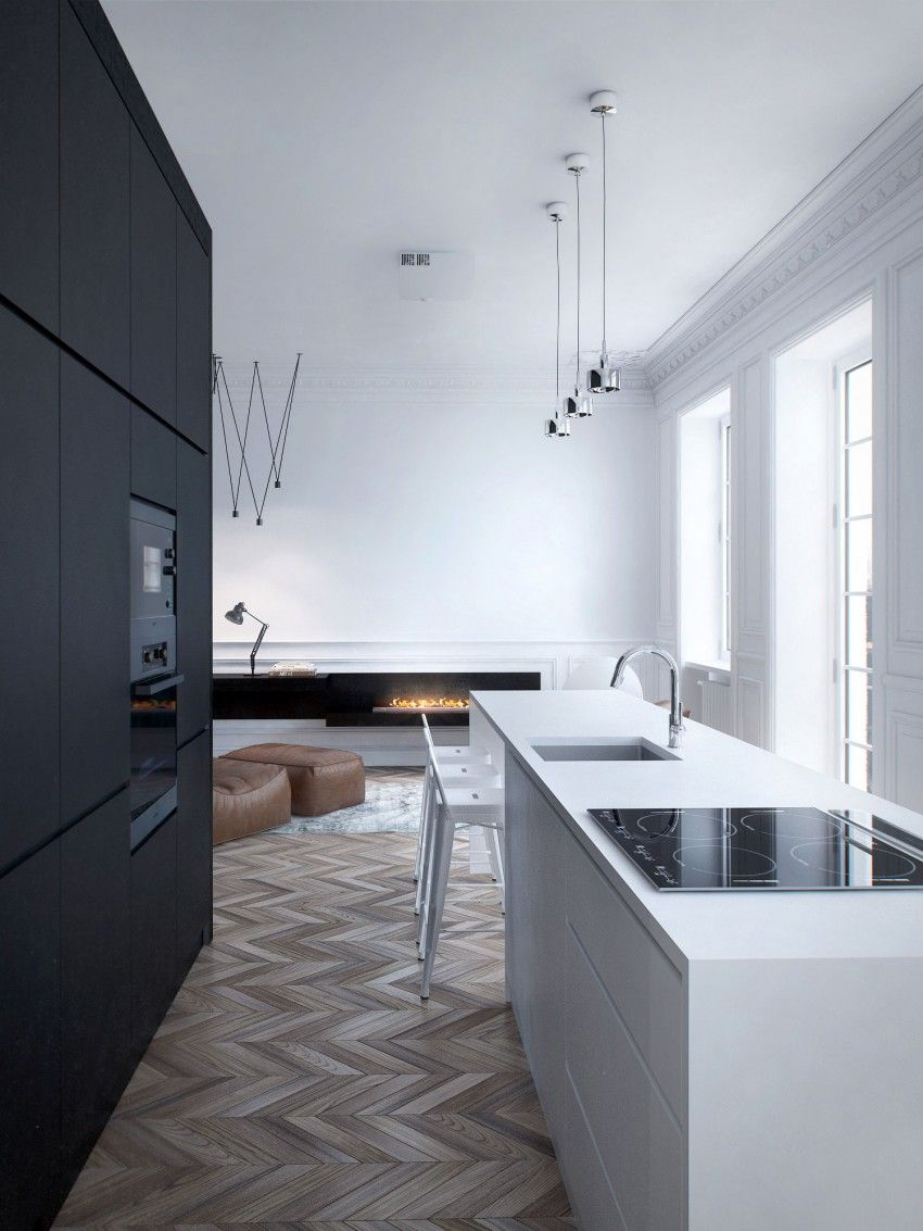 Interior MA by INT2 Architecture. Kitchen white & black. Wood pavement vintage. Minimal interior design.