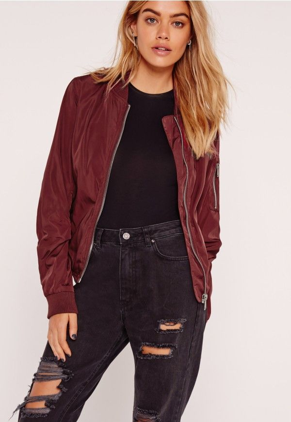 306534d0e28 Lightweight Zipped Sleeve Pocket Bomber Jacket Burgundy - Missguided ...