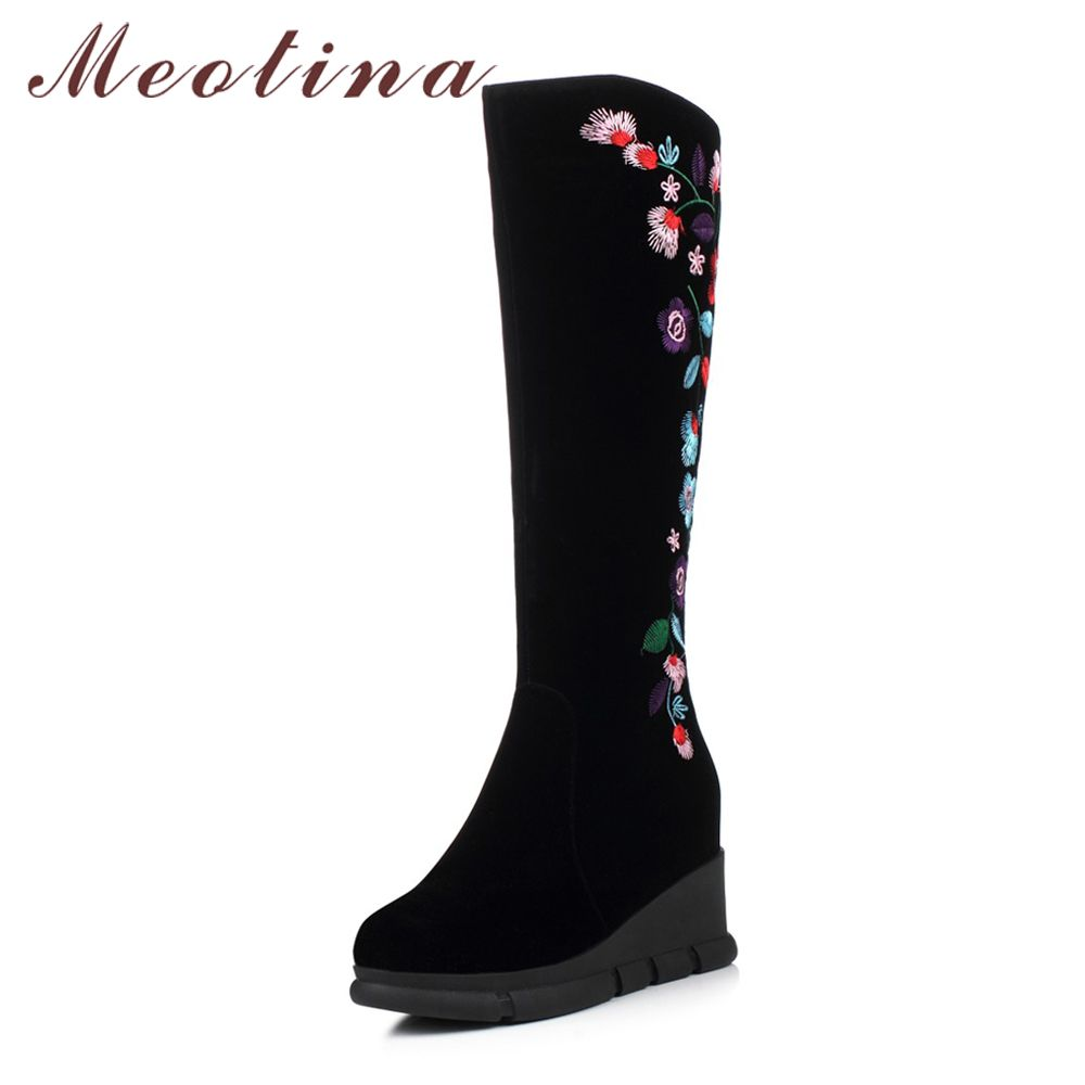 eacd5ca1081 Meotina Winter Women Knee High Boots Embroidery High Heels Thigh High Boots  Platform Wedges Boots Zip Increasing Heel Shoes 2018