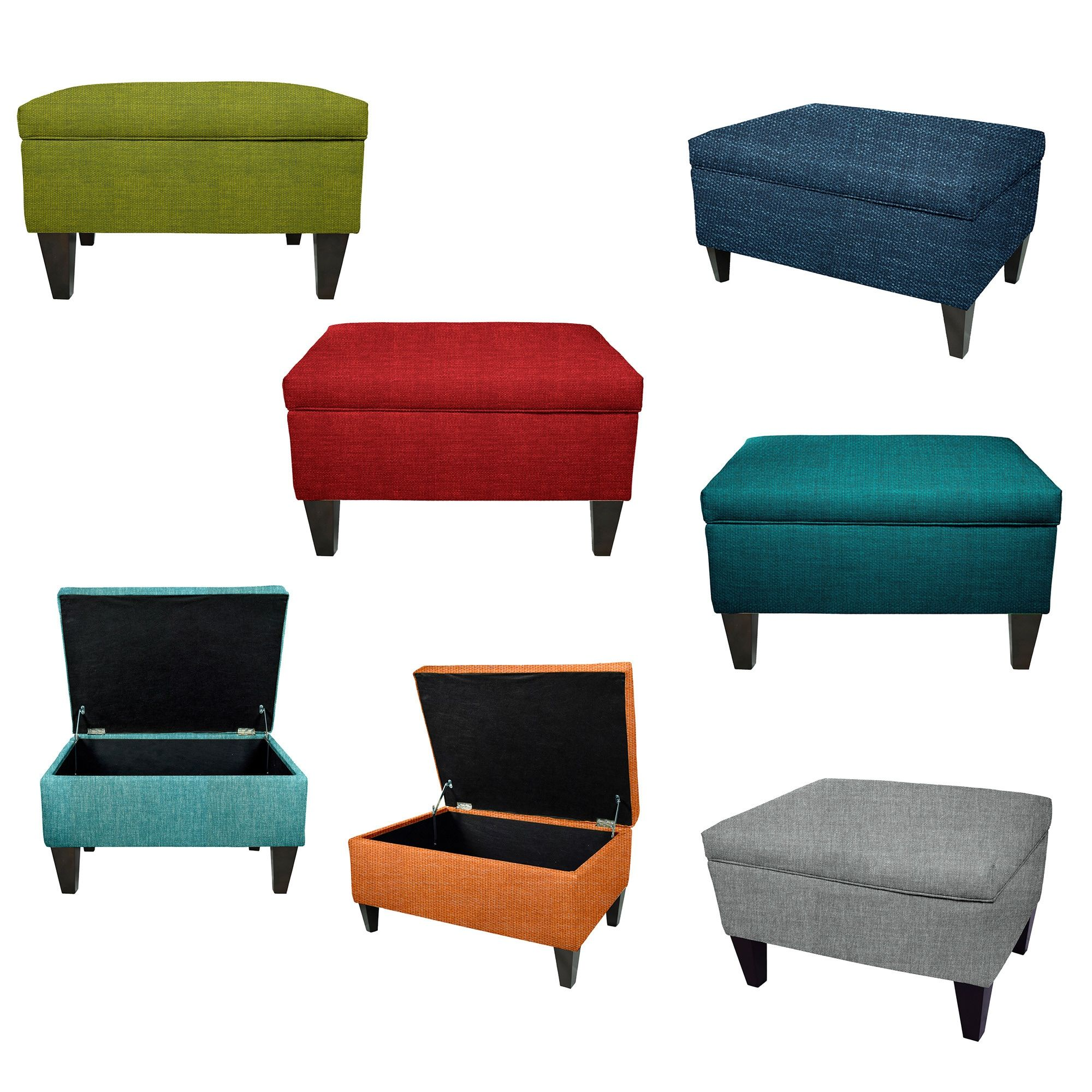 MJL Furniture Brooklyn Wood Polyester-upholstered Storage Ottoman ...
