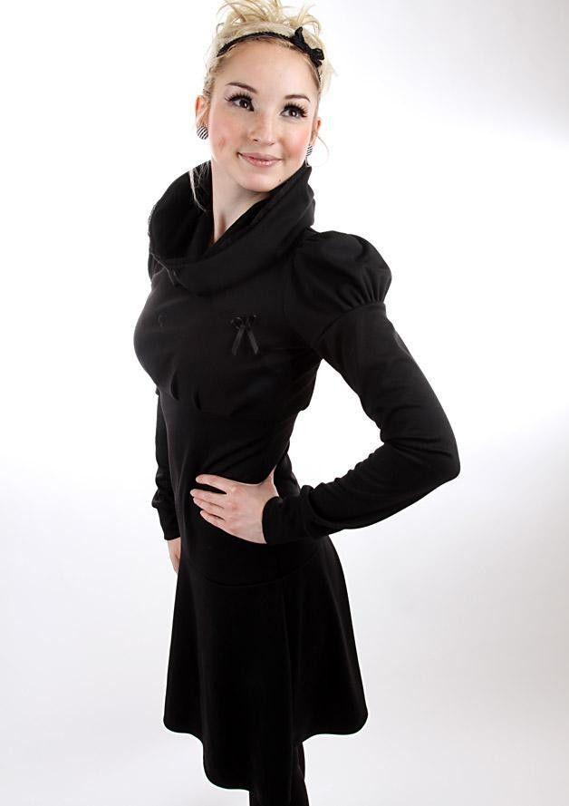 Kleid schwarz langarm spitze