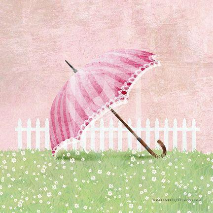 Garden Pink Umbrella Parasol Girls Wall Art by caramelexpressions ...