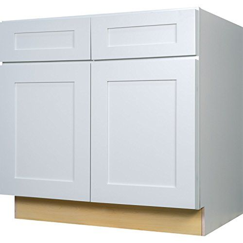 Everyday Cabinets 36 Inch Base Cabinet In Bright White Shaker With 2 Soft Close Drawers 2 Soft Cl Kitchen Cabinet Drawers Kitchen Base Cabinets Base Cabinets