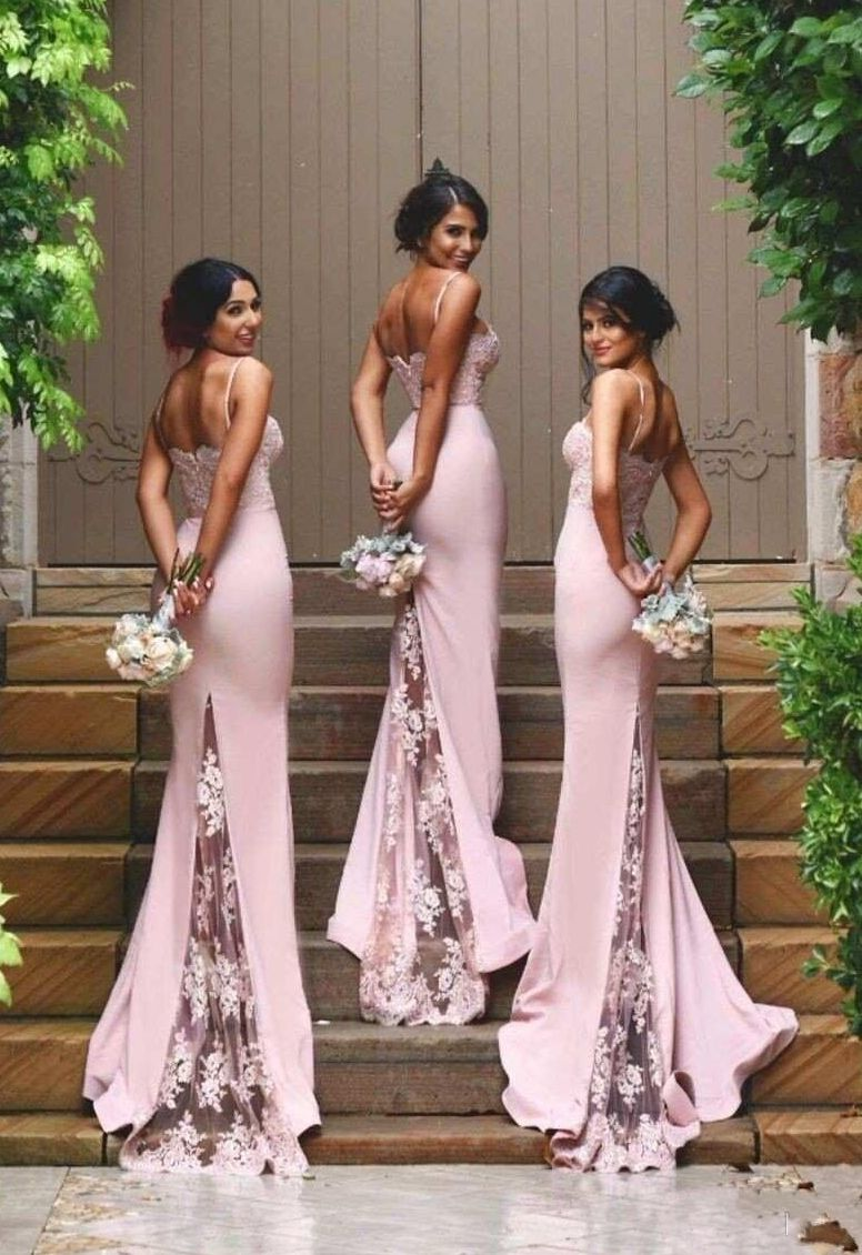 Pink wedding dress say yes to the dress   Pink Mermaid Bridesmaid Dresses with Spaghetti Straps Lace