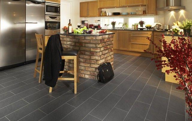 Pergo Black Slate Modern Kitchen Flooring Modern Kitchen Tile Floor Kitchen Floor Tile