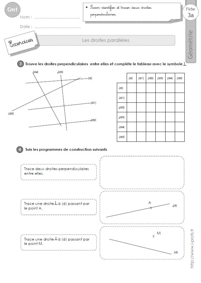Cm1 Exercices Les Droites Perpendiculaires Droites Perpendiculaires Geometrie Exercice De Geometrie