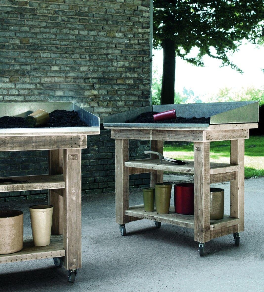 Bauholz design arbeitstisch mit zinkauflage bauholz for Arbeitstisch kuche selber bauen
