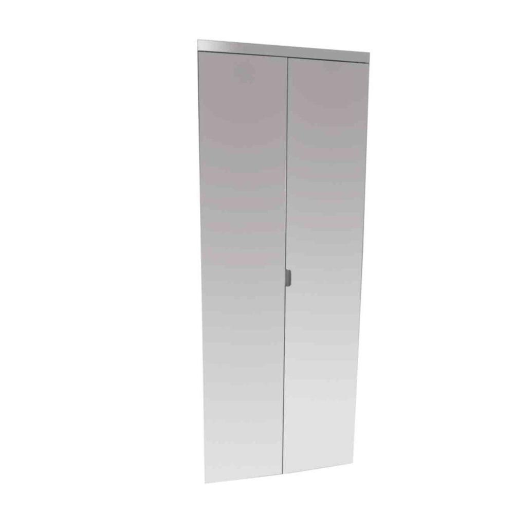 Impact Plus 24 In X 80 In Polished Edge Mirror Solid Core Mdf Interior Closet Bi Fold Door With Chrome T Beveled Edge Mirror Bifold Closet Doors Bifold Doors