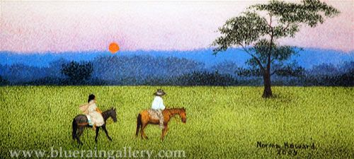 """Norma Howard, """"Heading Home,"""" watercolor on paper, 3""""h x 6 1/2""""w, at Blue Rain Gallery. www.blueraingallery.com"""