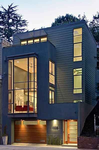 Modern row house but garage underneath or behind for Modern townhouse architecture