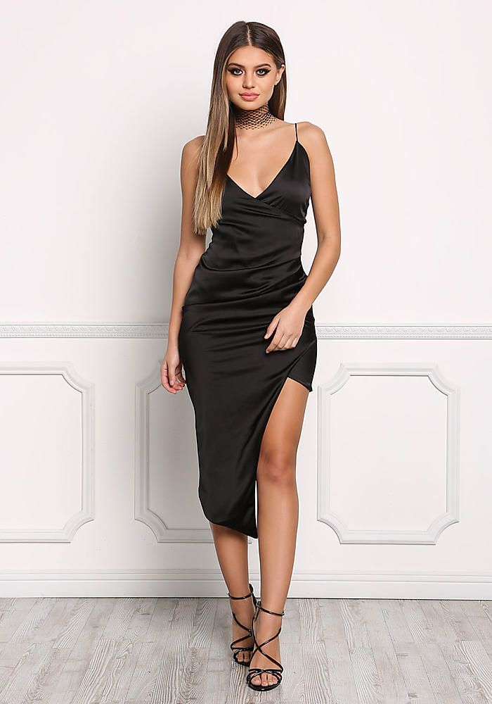 5ce8347395 Black Satin Surplice High Slit Dress - Bodycon - Dresses