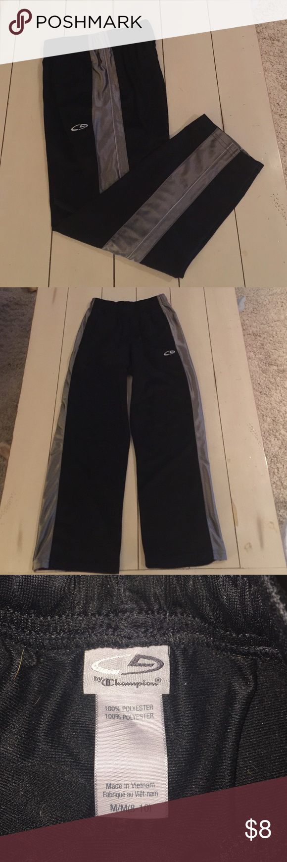 Youth Champion Sweatpants Excellent condition.  Shiny smooth outer, brushed warm inner.  Side pockets.  100% Polyester. Champion Bottoms Sweatpants & Joggers