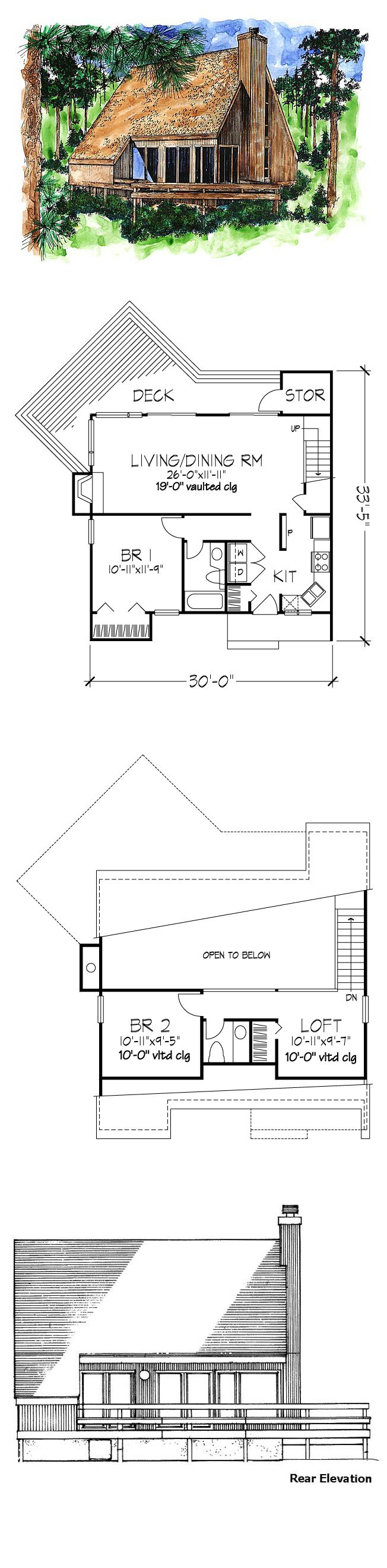 A-Frame House Plan 51028 | Total Living Area: 1039 sq. ft., 2 ...