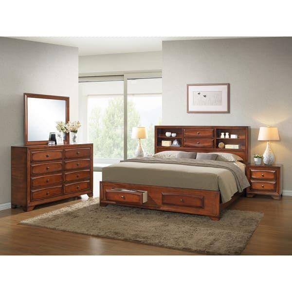 Asger Antique Oak Finish Wood King-size 5-piece Bedroom Set Future