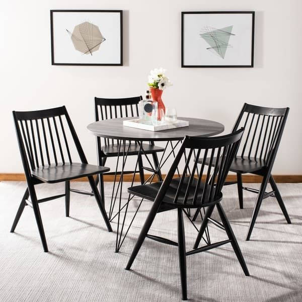 Safavieh Wren 19h Black Spindle Dining Chair Set Of 2 Dch1000a