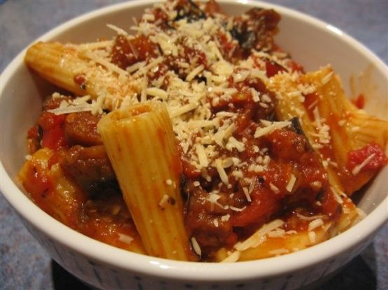 Rigatoni With Tomato, Eggplant, & Red Peppers is part of cooking Vegetarian Red Peppers - This sauce goes well with a tubular pasta, such as rigatoni, or a long pasta, such as spaghetti   It benefits from slower cooking, becoming a rich sauce that is delicious accompanied by a leafy green salad   From The Classic Vegetarian Cookbook