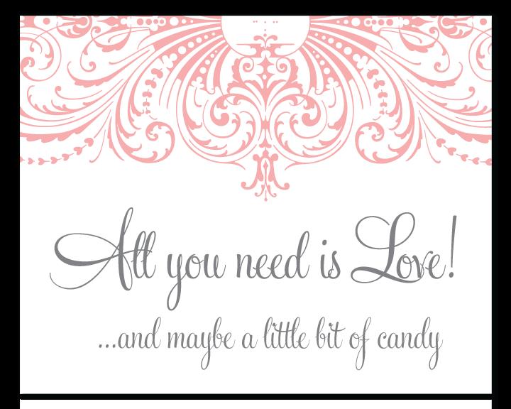 custom flourish candy buffet sign