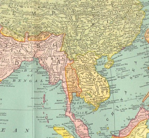 Asia Map 1895 Rand McNally Four Color Antique Victorian Cartography Geography