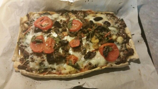 Grain free pizza.. 1 cup tapioca flour, 1 egg any spices u love I used oregano, a lil olive oil, and water...bake the crust for 15 min then I added grass fed ground beef, garlic, basil and cheese...lo carb and fabulous...oh yes shrooms  too