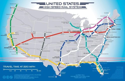 Map for the route of a potential high speed rail... Maps