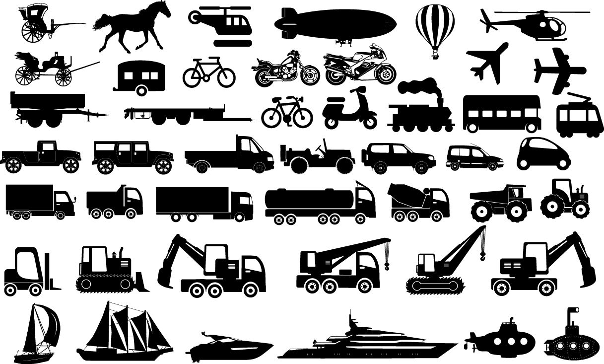 Transportation Icons Airplane Balloon Bicycle Bulldozer Bus Car Crane Helicopter Horse Ship Submarine Truck Icon Transportation Silhouette Vector