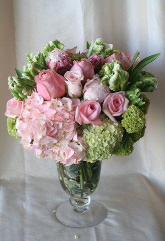 Pink Hydrangea Viburnum Pink Peonies Parrot Tulips And Pink Roses Tulips Arrangement Flower Arrangements Floral Arrangements