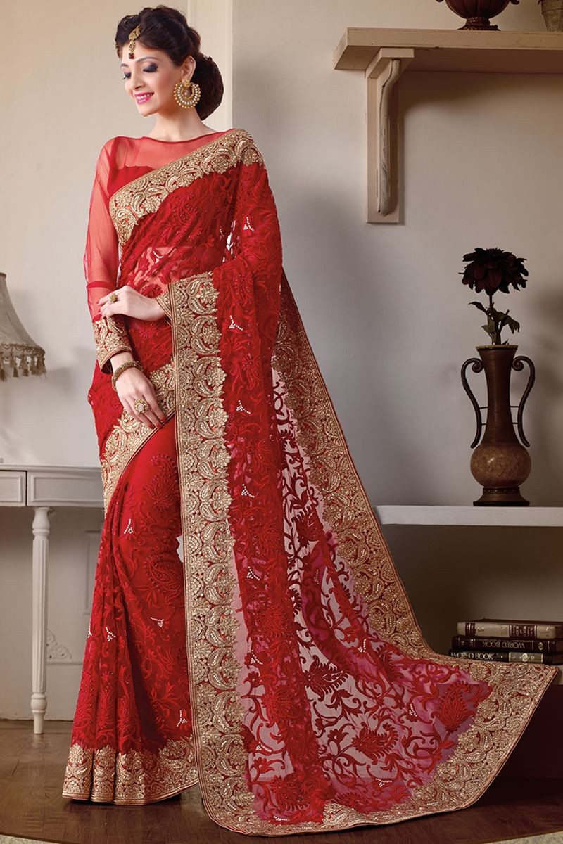 Red Designer Party Wear Sarees From Onlinesareessshopping Com Designer Sarees Wedding Party Wear Sarees Red Saree Blouse