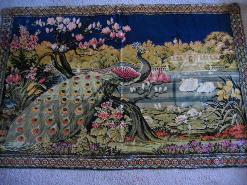 Large Tapestry Wall Hangings vintage fancy large peacock peafowl floral velvet tapestry rug