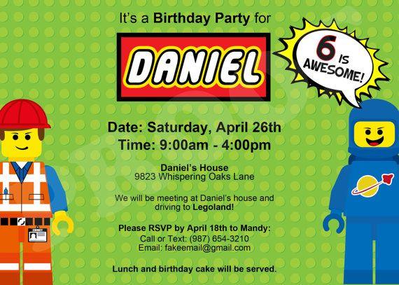 Lego Movie Birthday Invitation Custom Printable Digital