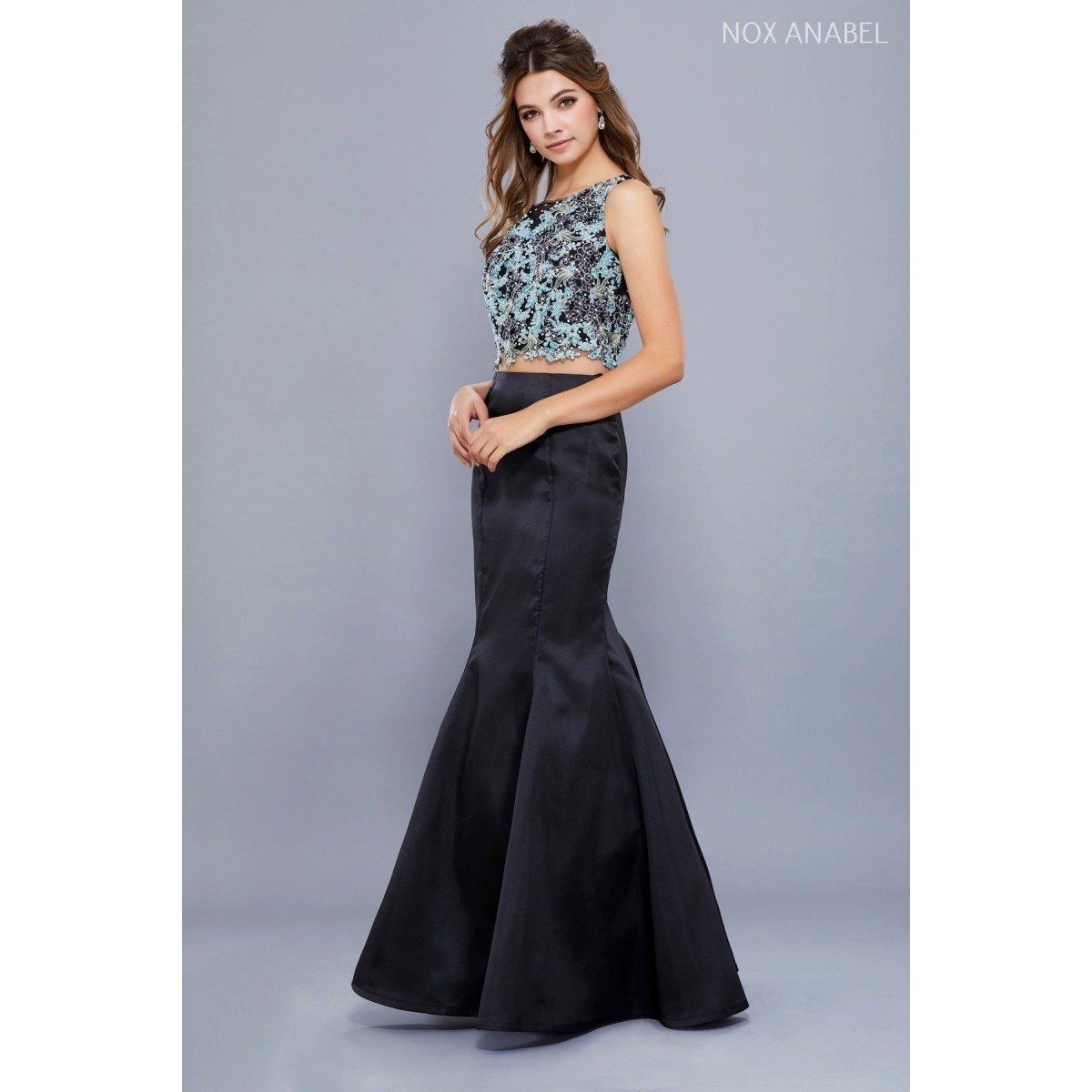 Black two piece detail beaded prom dress beaded prom dress and