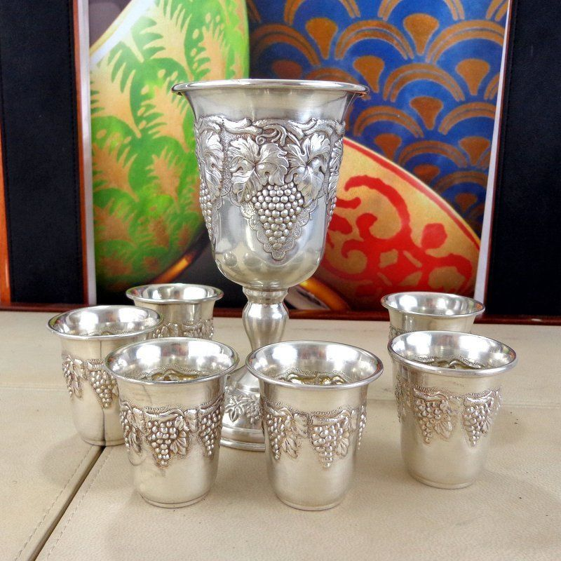 Vintage Judaica Sterling Silver 925 Jewish Grape Vine Repousse Kiddush Cup Set