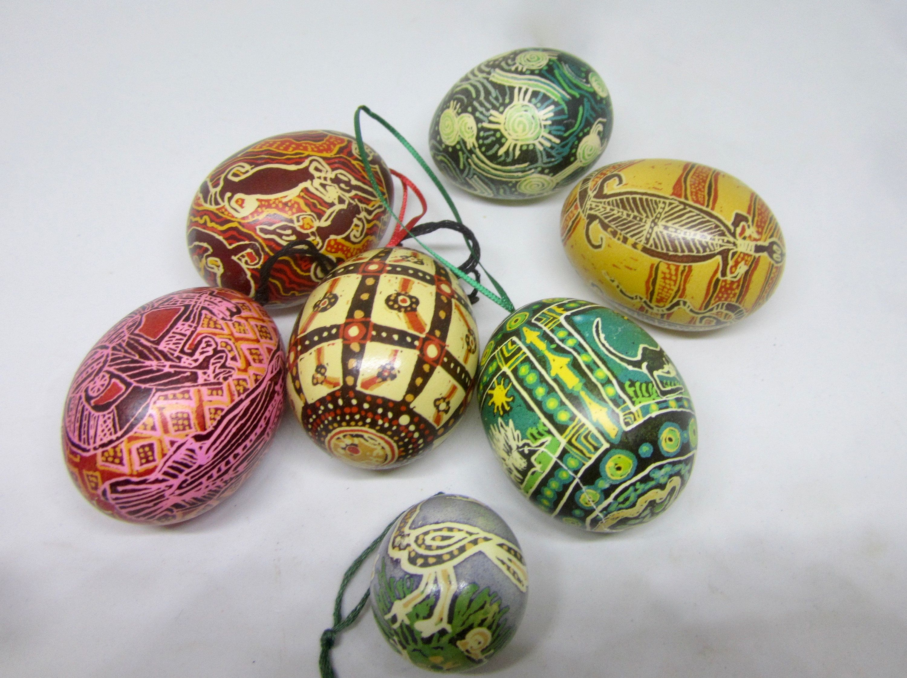 Vintage Decorative Easter Eggs With Australian Aboriginal