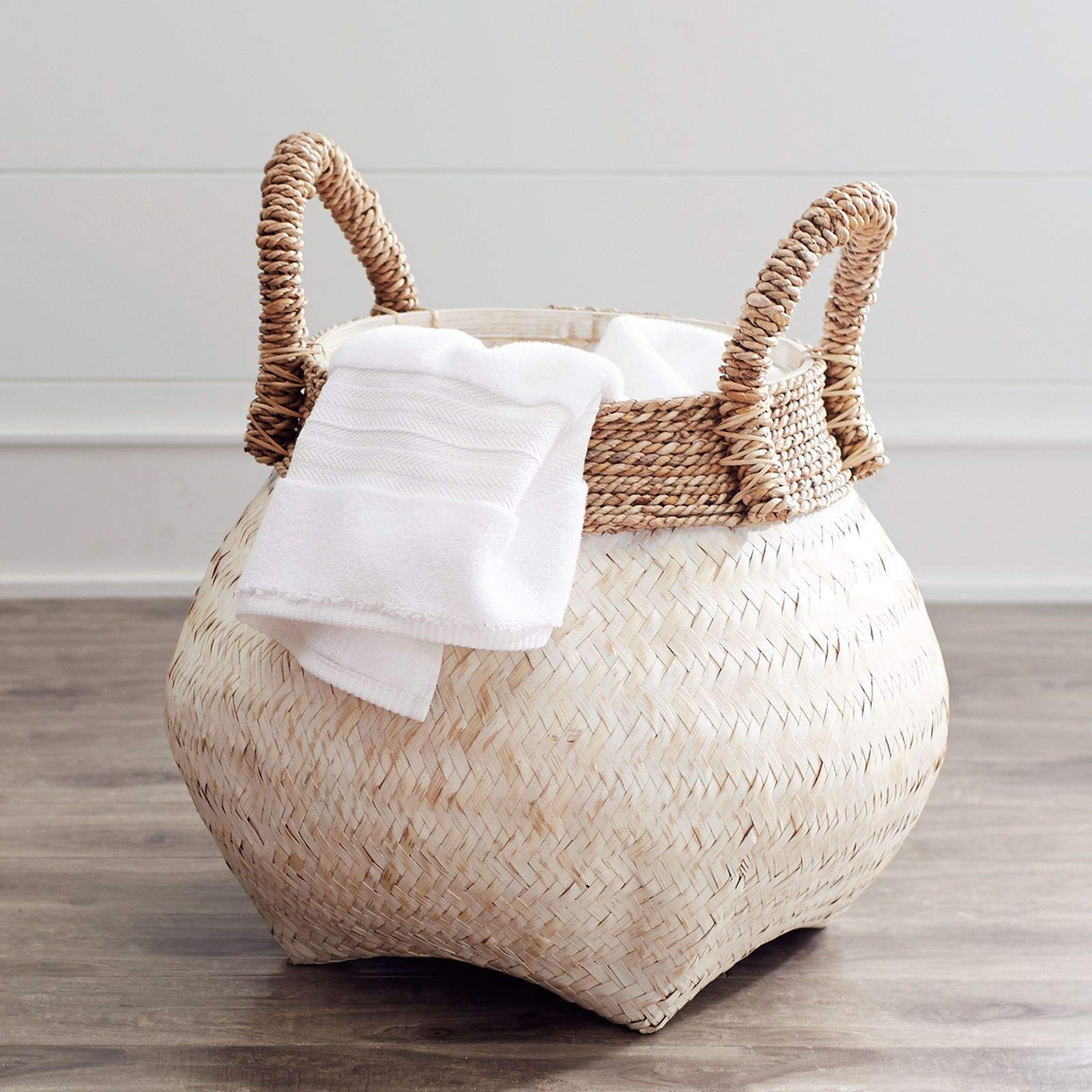 Julianna white natural wicker basket in 2019 r g - White wicker bathroom accessories ...