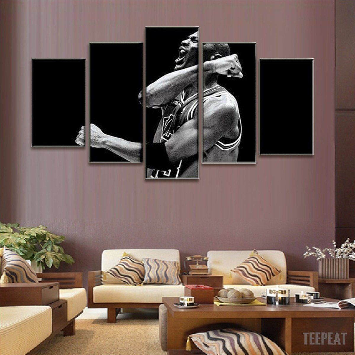 Limited Edition Champion Michael Jordan 5 Piece Canvas Painting Customized Canvas Art Canvas Wall Decor Canvas Art Wall Decor