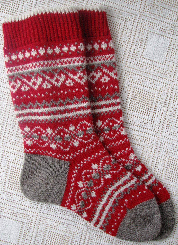 Hand Knit Wool Holiday Jacquard Ladies Socks