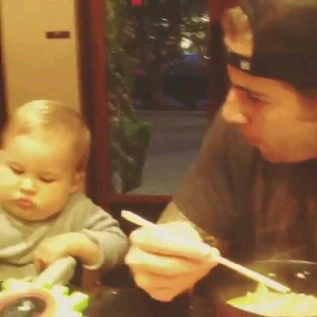 Looook at those baby cheeks....I wanna chew on 'em, sooo ... M Shadows And His Son