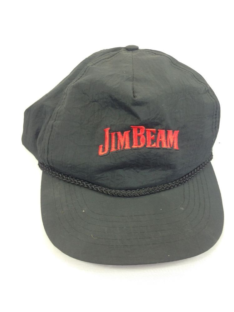e9128c803fa VINTAGE Jim Beam Hat Snapback Cap Mens Black Bourbon Whiskey 90s VTG   fashion  clothing