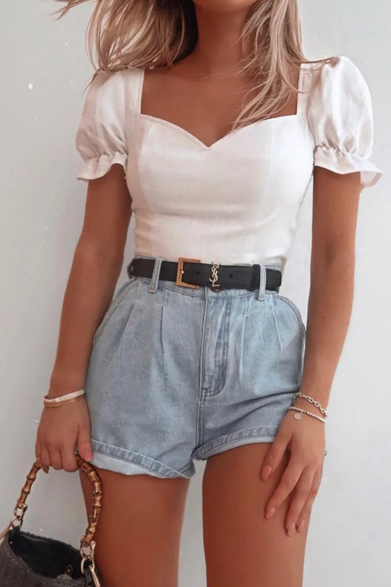 Photo of FASHION INFLUX WHITE FRILL PUFF SLEEVED CROP TOP – Welcome to Blog