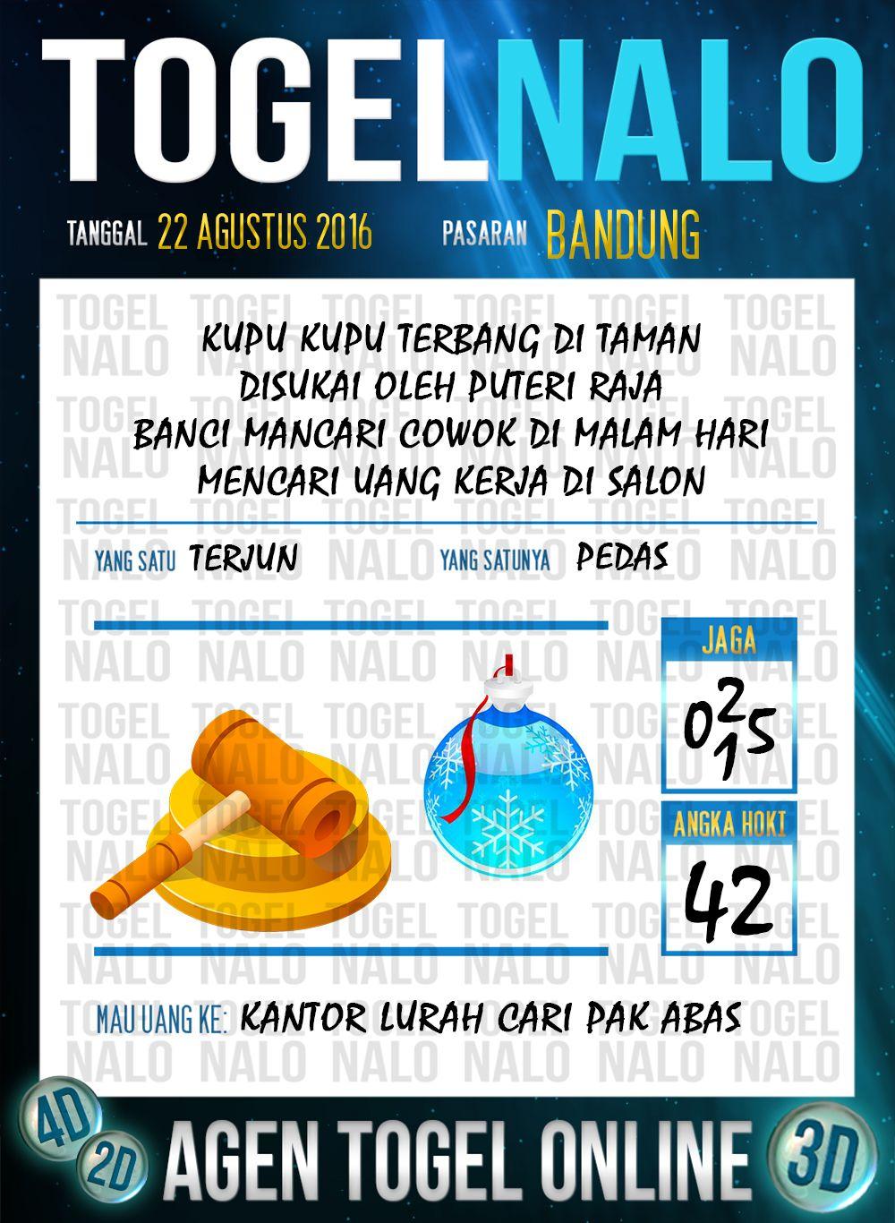 Prediksi Togel Online Live Draw 4D TogelNalo Bandung 22 Agustus 2016
