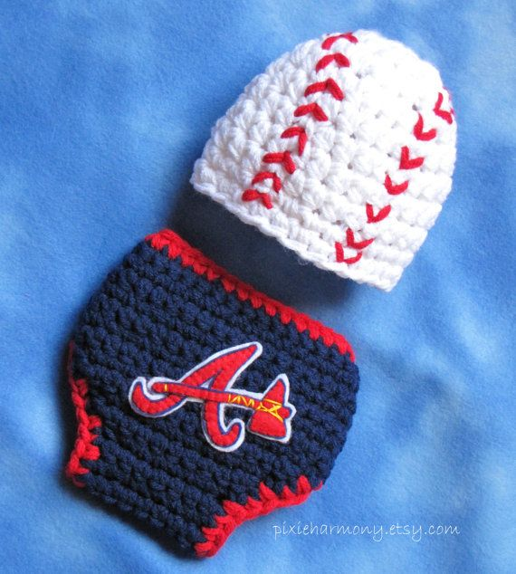 25b30deb1 Baby Atlanta Braves TEAM Hat and Diaper Cover Set - Photo Prop ...