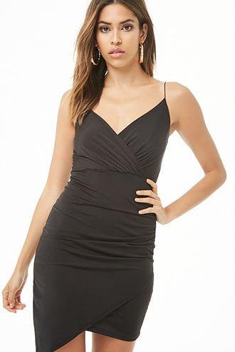 c8bb3e665c7 Sheeny Asymmetrical Surplice Mini Dress