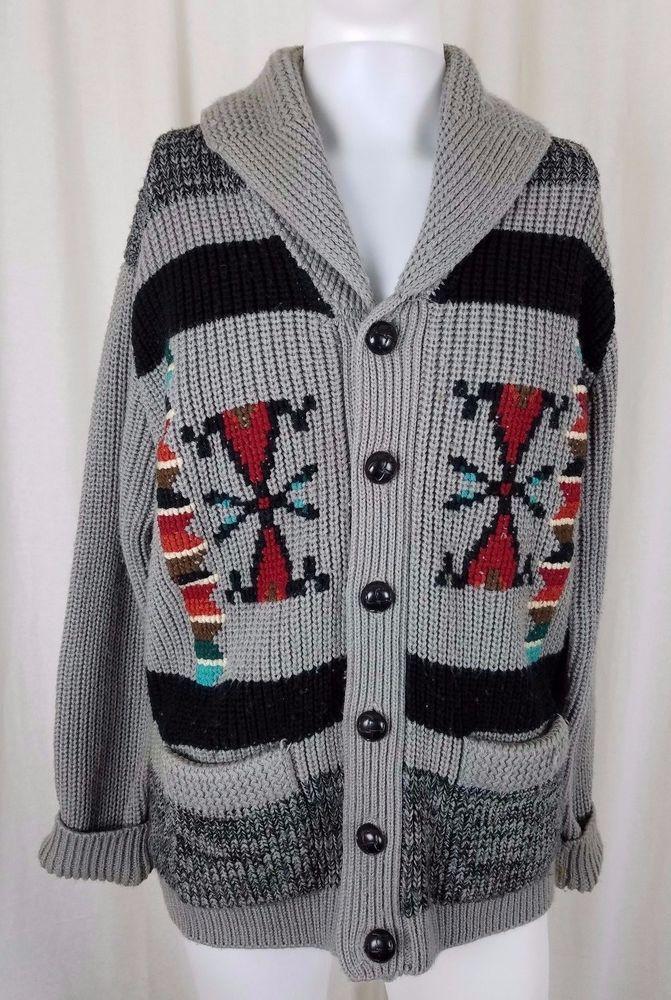 Mens L Miller Cowichan Mary Maxim Aztec Knit Shawl Collar Cardigan ...