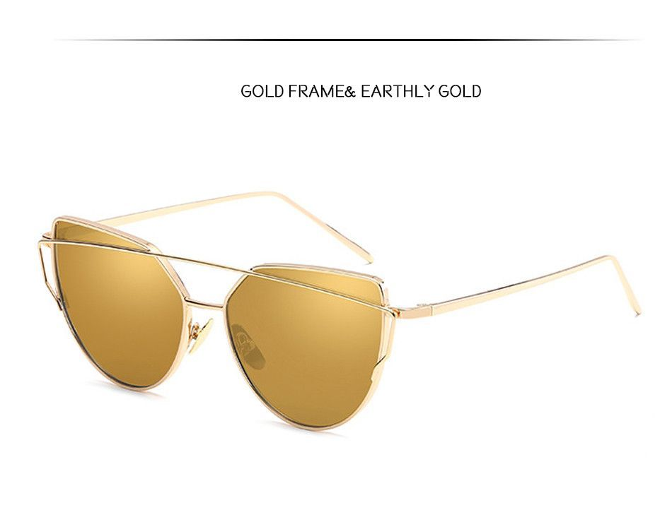 New Fashion Cat Eye Sunglasses Women Vintage Fashion Sun Glasses Unique Ladies Sunglasses UV400, Gold frame Earthly gold,