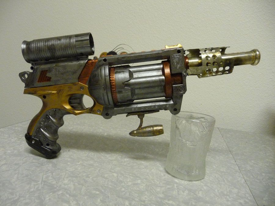 Nerf Maverick mod painted steampunk-style, with added parts of plastic and  metal,