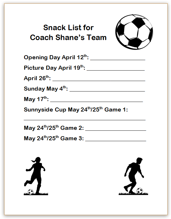 team sign up sheets