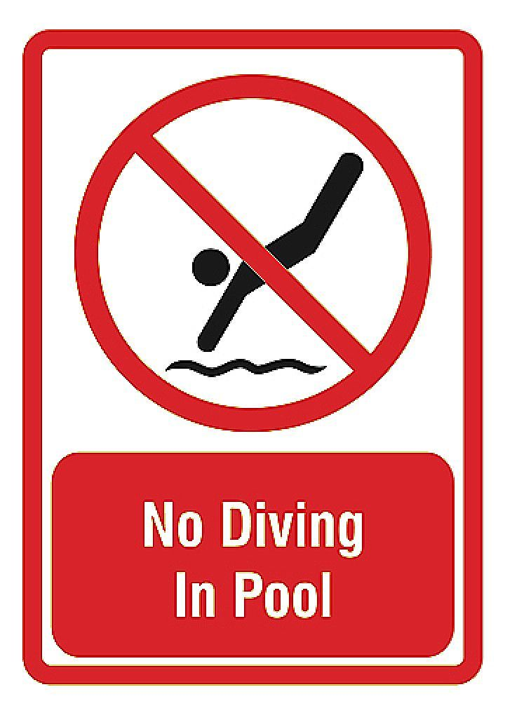 No Diving In Pool Bottom Caution Swimming Pool Sign Swimming Pool Signs Pool Signs And