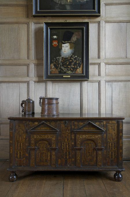Detail of the Dining Room at Montacute, with an inlaid Nonsuch chest and a portrait of Elizabeth Knollys, Lady Layton, attributed to George Gower (Sir Percy Malcolm Stewart bequest)