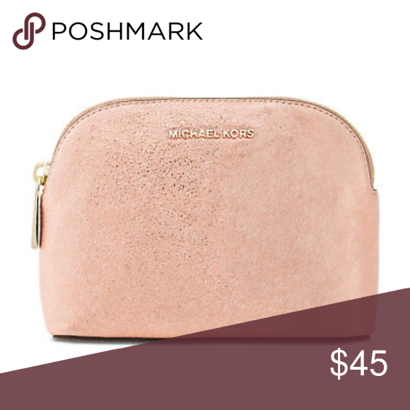 2705bc91163d Michael Kors Leather Medium Travel Pouch Clutch This is a metallic soft pink  cracked textured